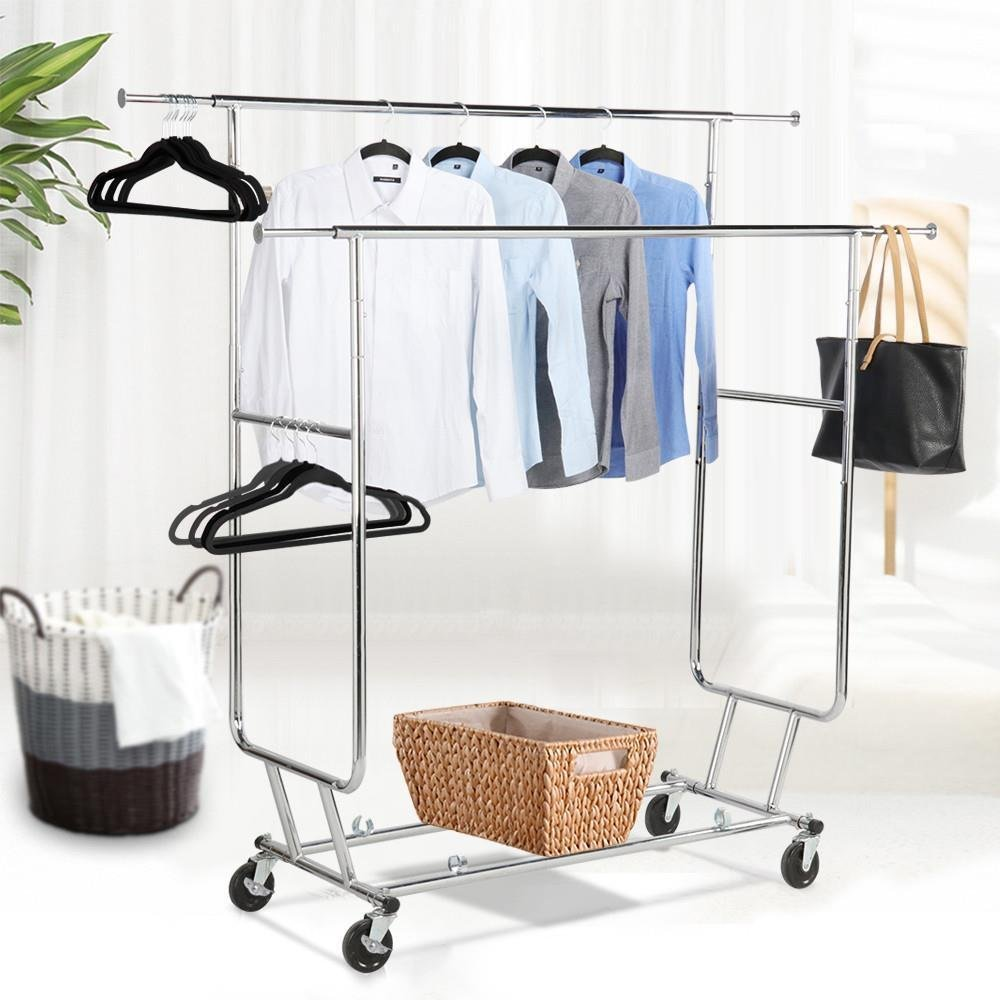Commercial Grade Adjustable Hanging Rack Double-Rail Clothing,
