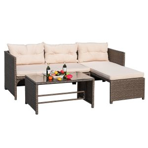 Devoko Rattan Sectional Garden Patio Sofa Set