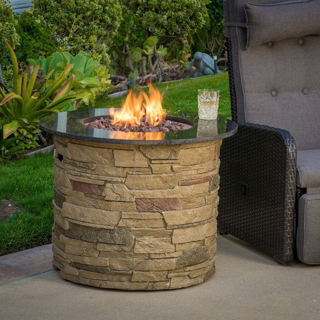 Great Deal Furniture Rogers Outdoor 40,000 BTU Liquid Propane Fire Table