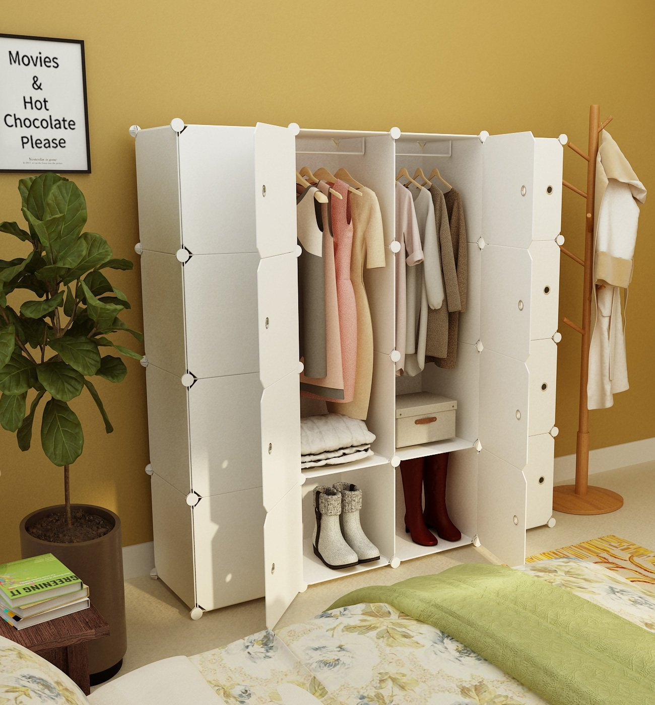 KOUSI Portable Clothes Closet Wardrobe
