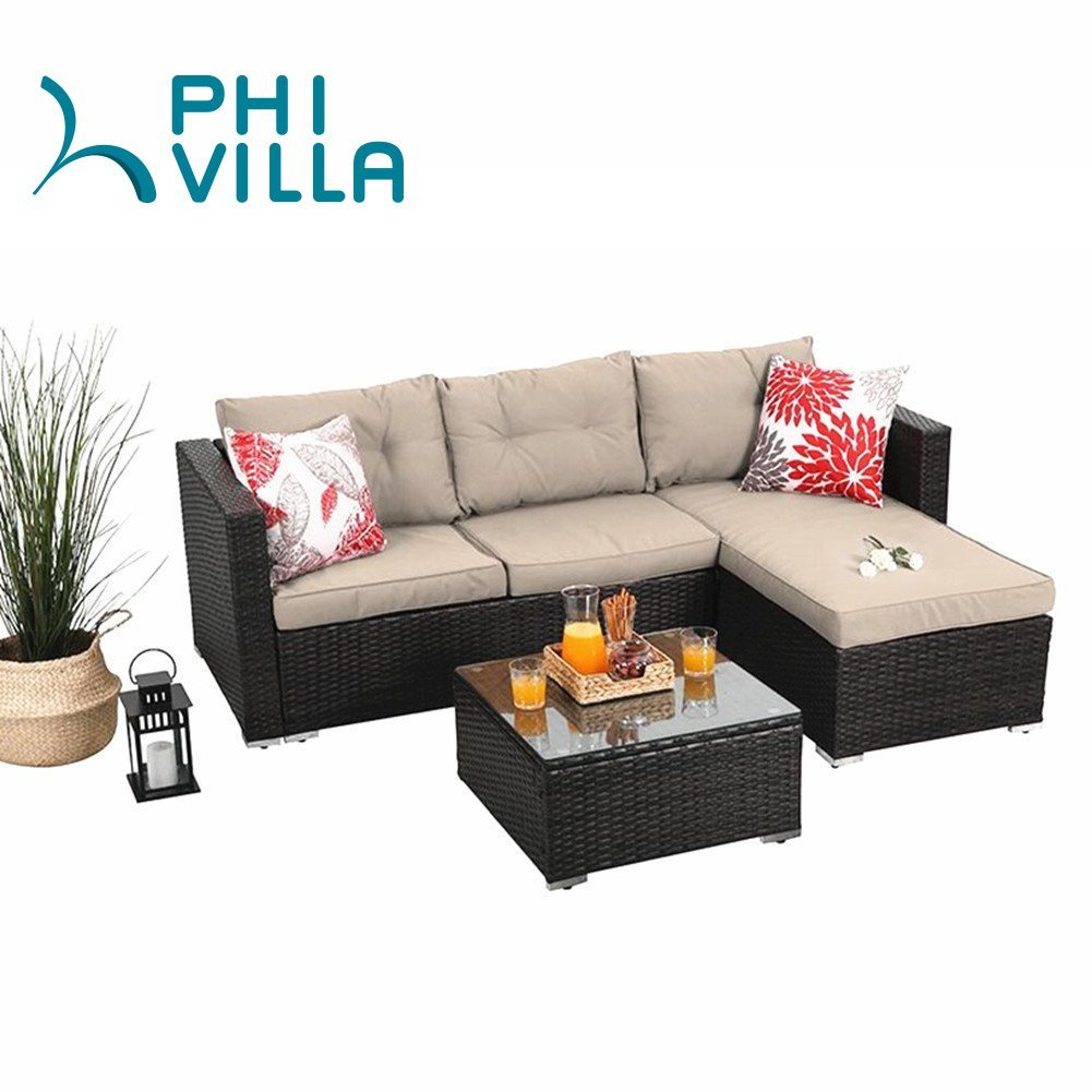 PHI VILLA 3-Piece Outdoor Patio Sofa