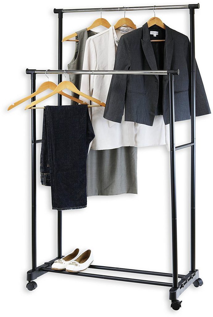 SimpleHouseware Double Hanging Garment Rack Rod Portable Clothing
