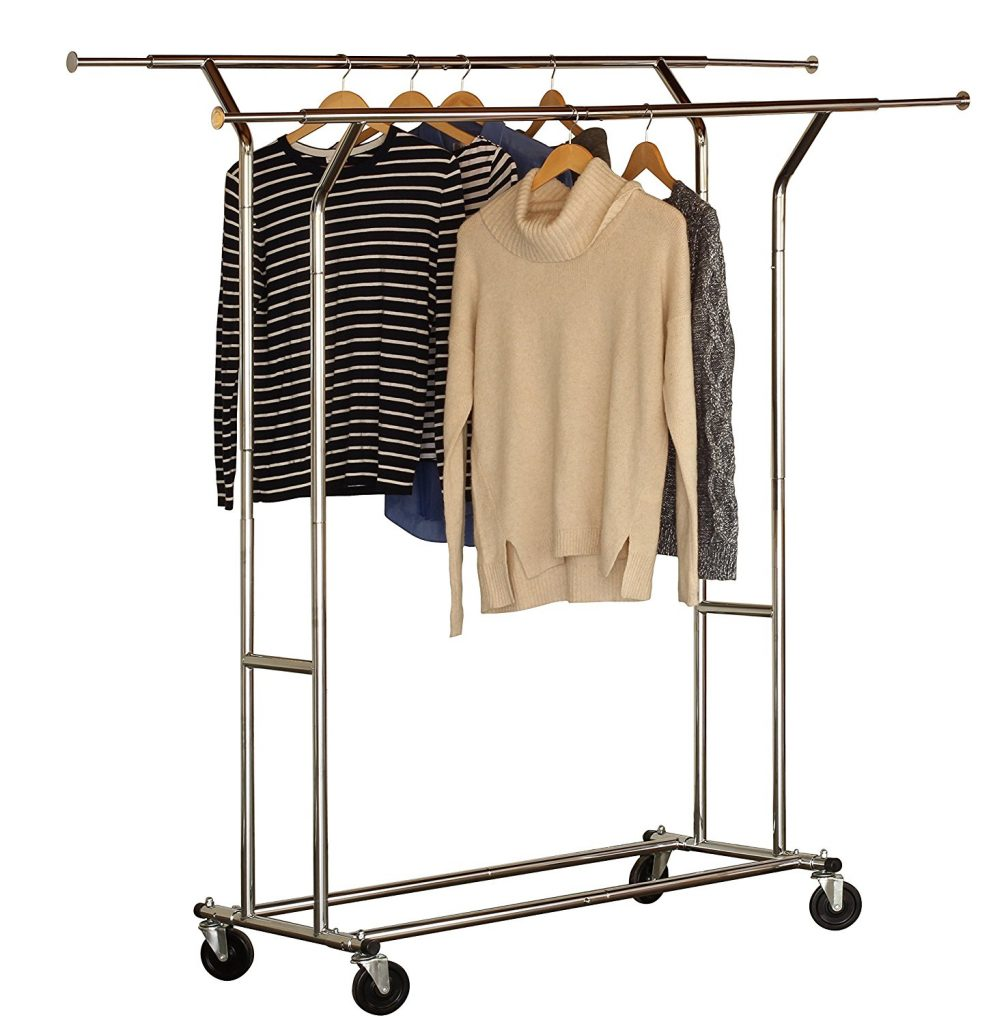 Supreme Commercial Grade Rolling Rack Double Rail Garment,