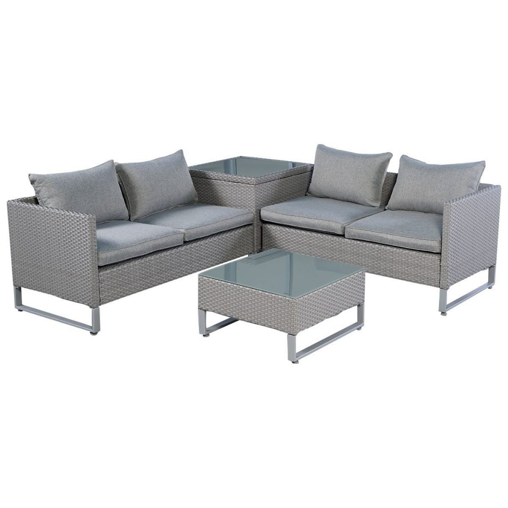 TANGKULA 4-Piece Furniture Patio Sofa, Grey