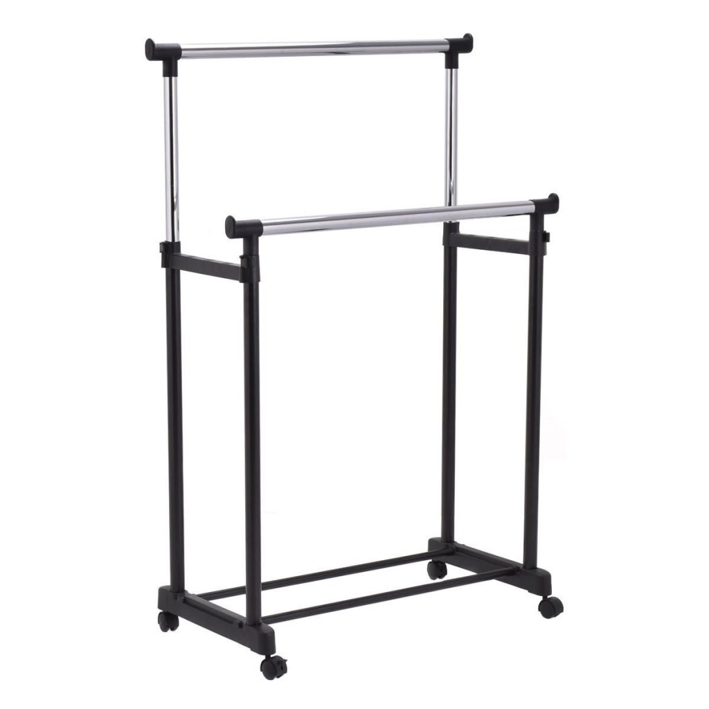 Tangkula Heavy Duty Double Rail Garment Rack Height Adjustable