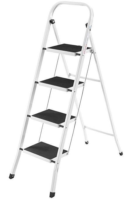 VonHaus Steel Folding Portable 4-Step Ladder