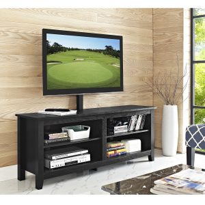 WE Furniture Wood TV Stand with Mount