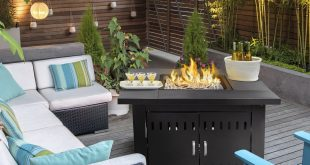 XtremepowerUS Outdoor Propane Fire Table, Black