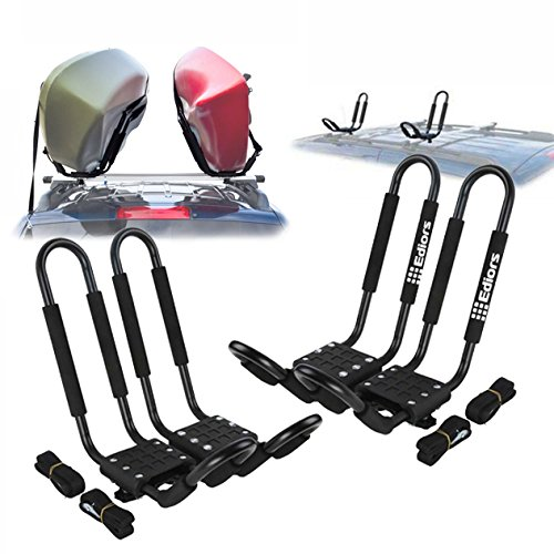 Ediors 2 Pairs Universal J-Bar Kayak Roof Rack