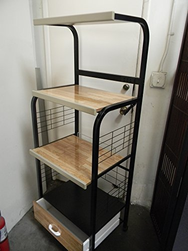 Black-Microwave-Cart Featuring A Power Strip