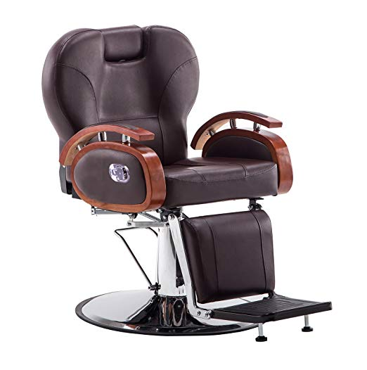 Exacme Hydraulic Recline Makeup Chair Beauty Spa Shampoo Chair 8705 (Brown)