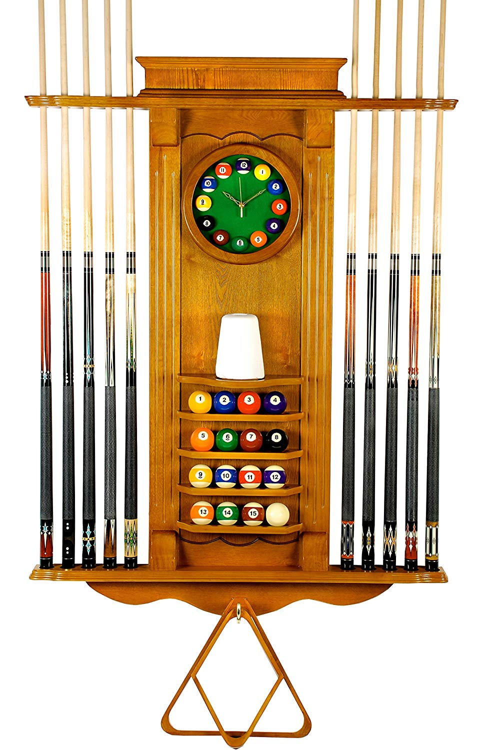 Iszy 10 Pool Cue Rack with Clock