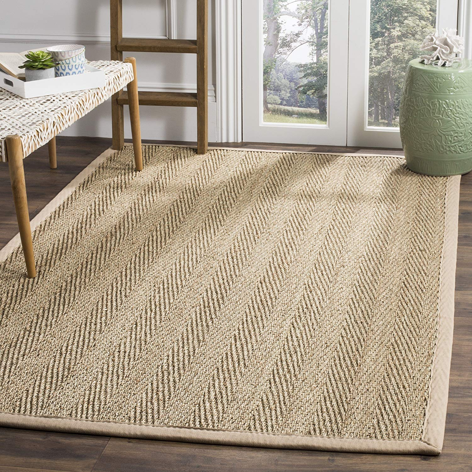 Safavieh NF115A Herringbone Natural and Beige Seagrass Area Rug