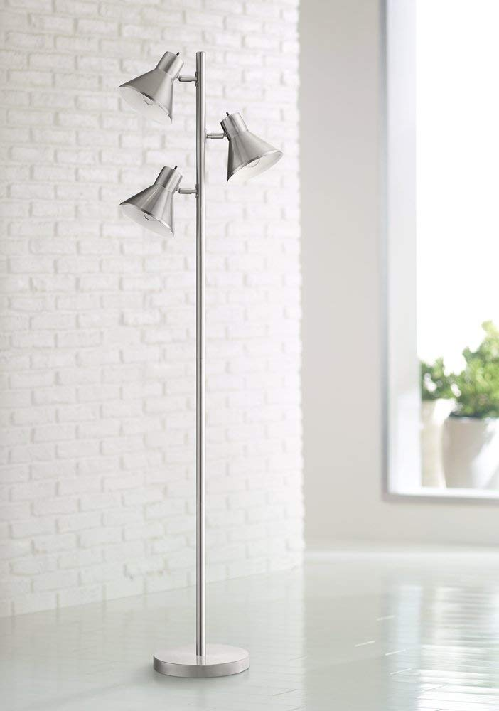 360 Lighting Luken Brushed Steel 3-Lights Floor Stand Light