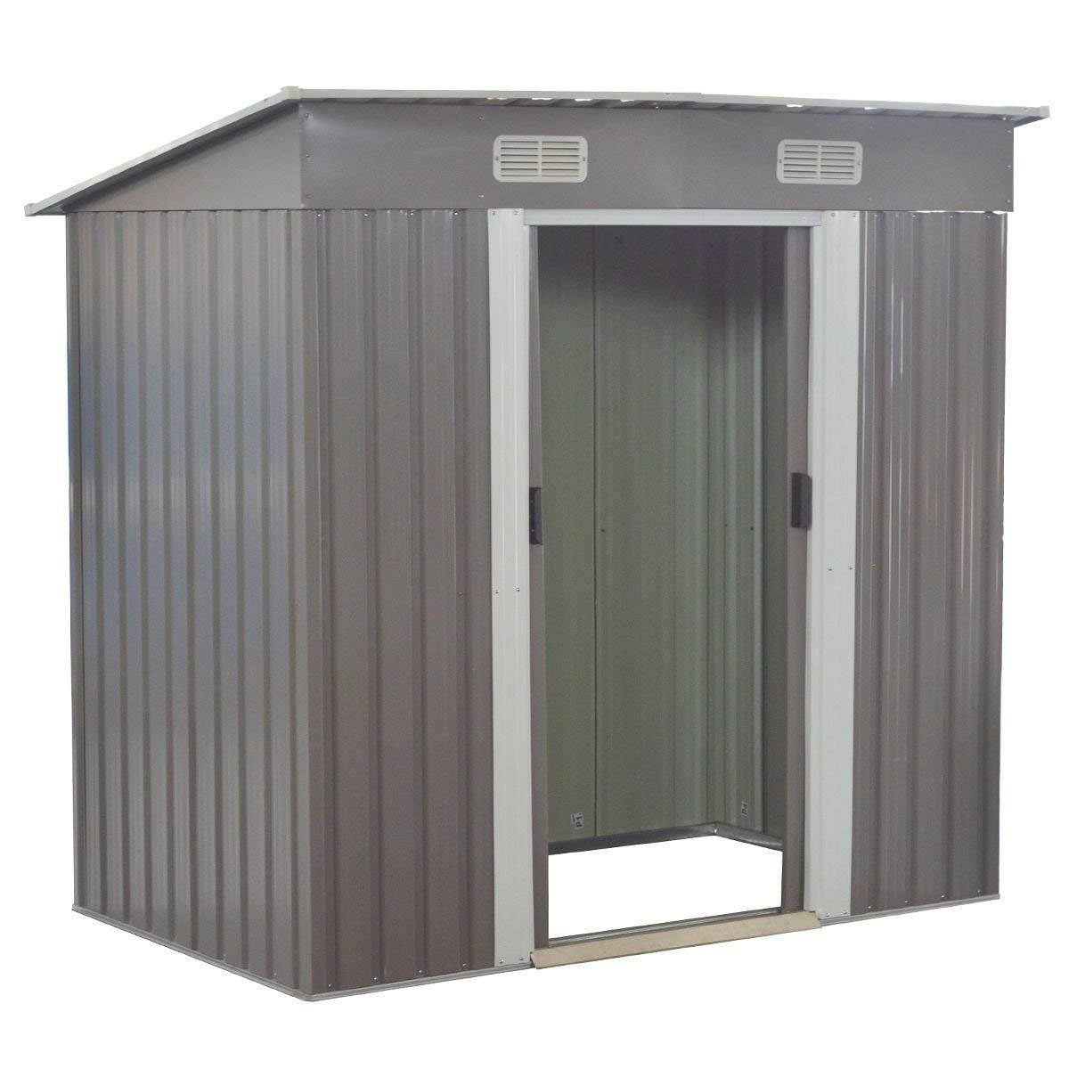 GoPlus Galvanized Steel Outdoor Garden Storage Shed