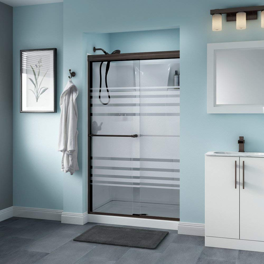 Delta Shower Doors Linden Semi-Frameless Traditional Sliding Glass Shower Door, SD3276451