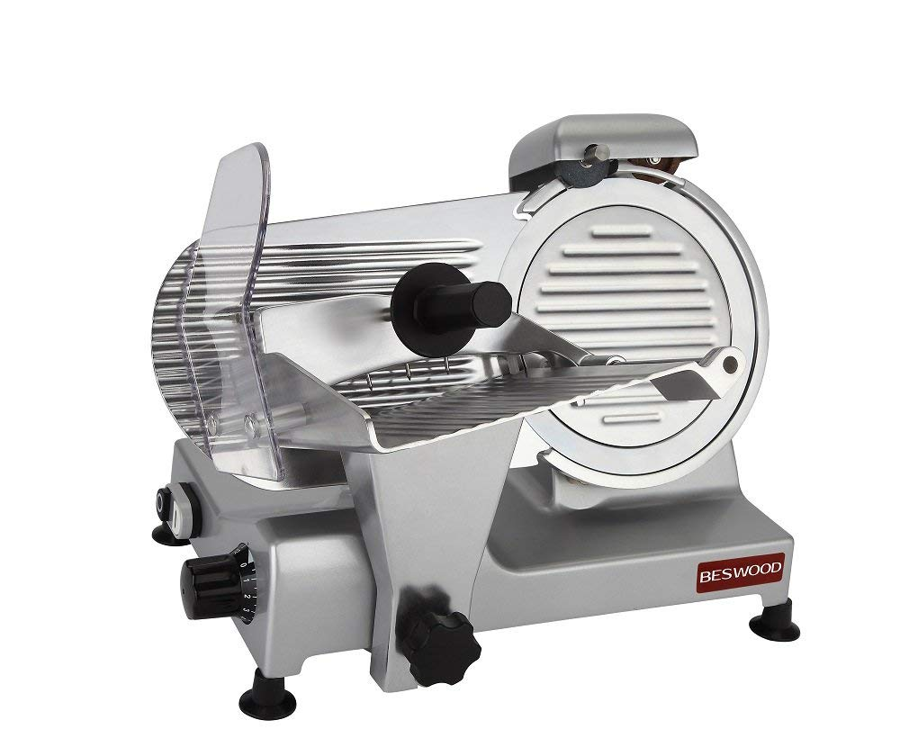 "BESWOOD 9"" Premium Chromium-plated Carbon Steel Blade Electric Deli Meat Slicer"
