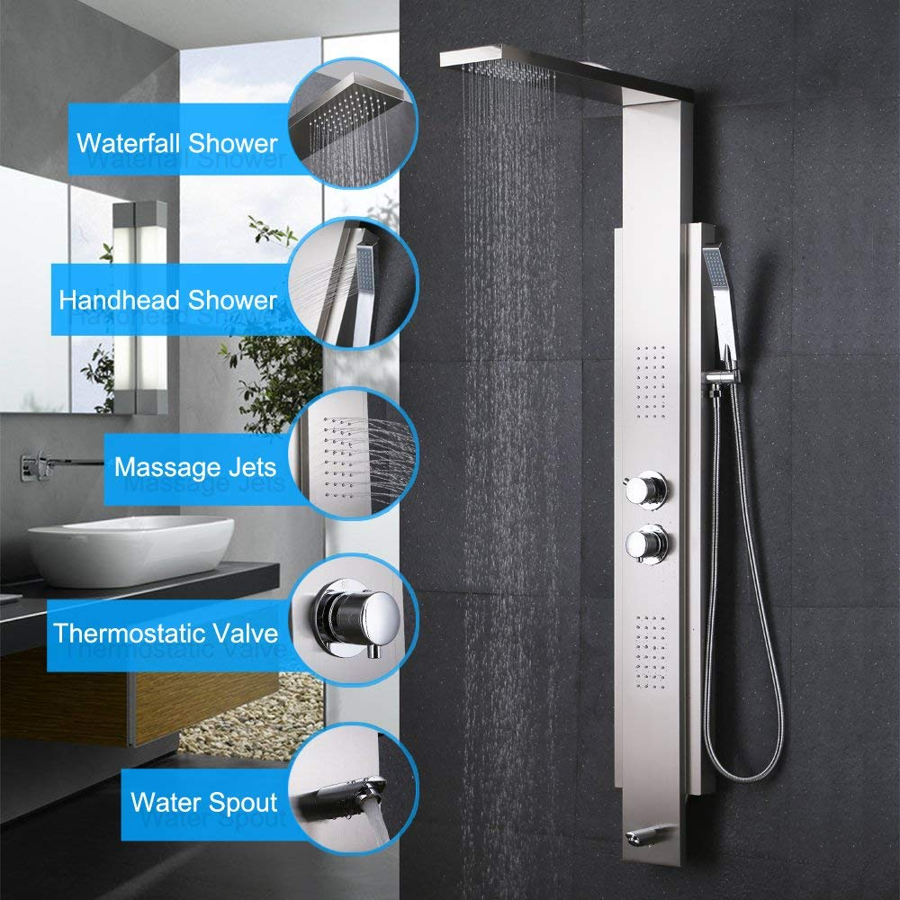 KES SUS 304 Stainless Steel Rainfall Shower Panel