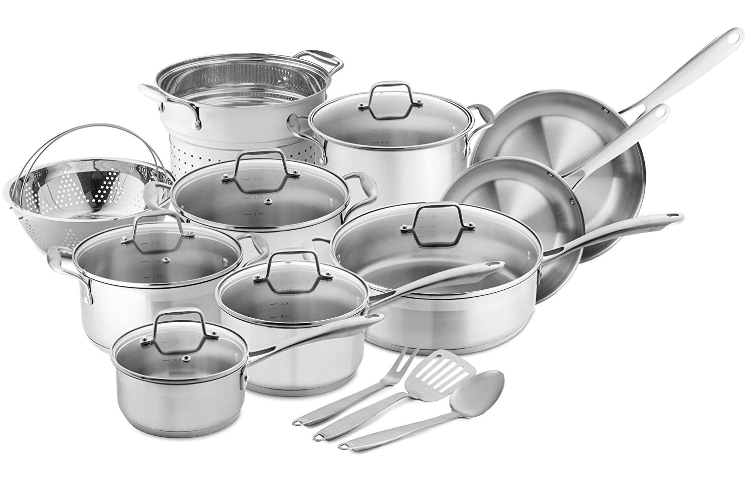 Chef's Star 17-Piece Pots and Pans Stainless Steel Induction Cookware