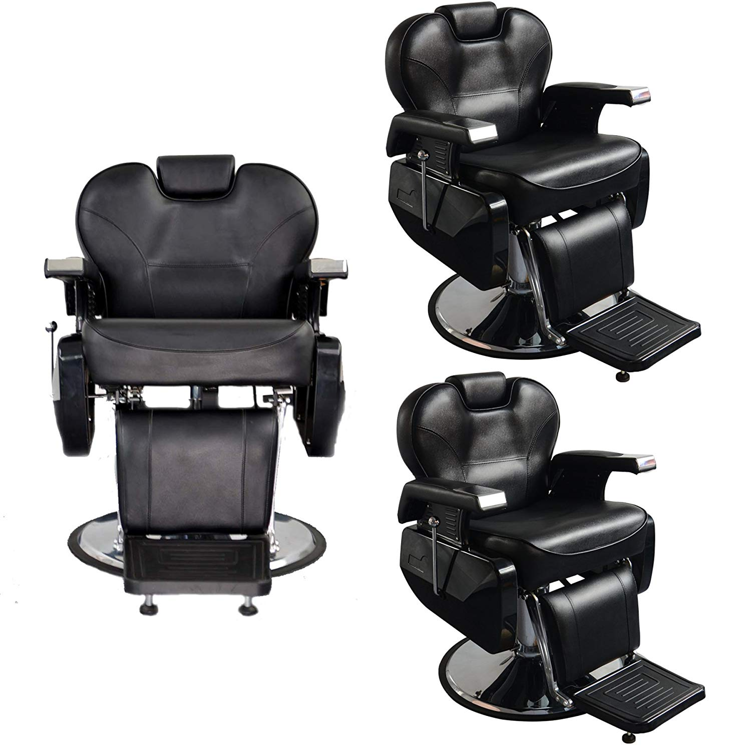 BarberPub Three All Purpose Hydraulic Recline Barber Chairs