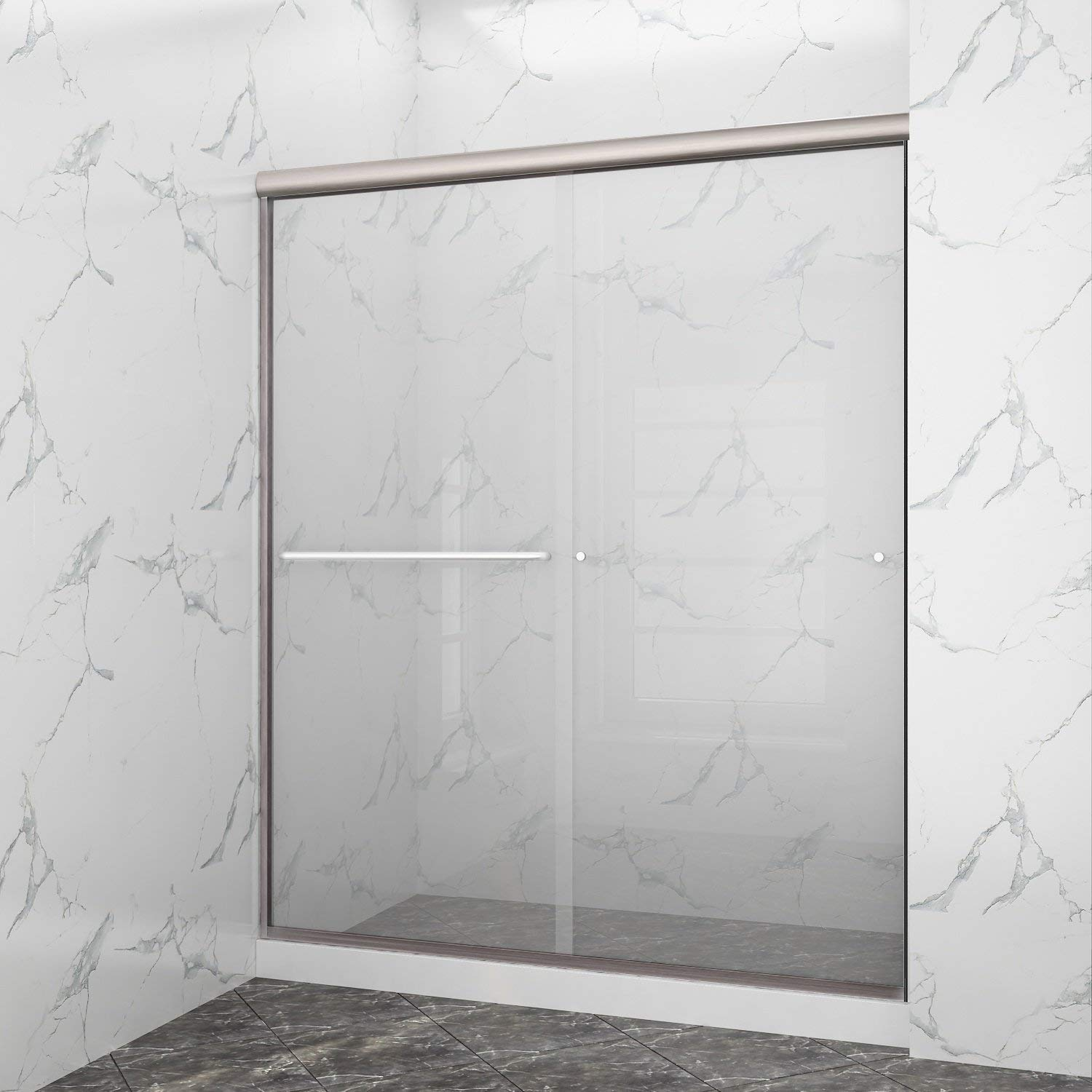 SUNNY SHOWER Frameless Glass Sliding Shower Door, B020-6072CB