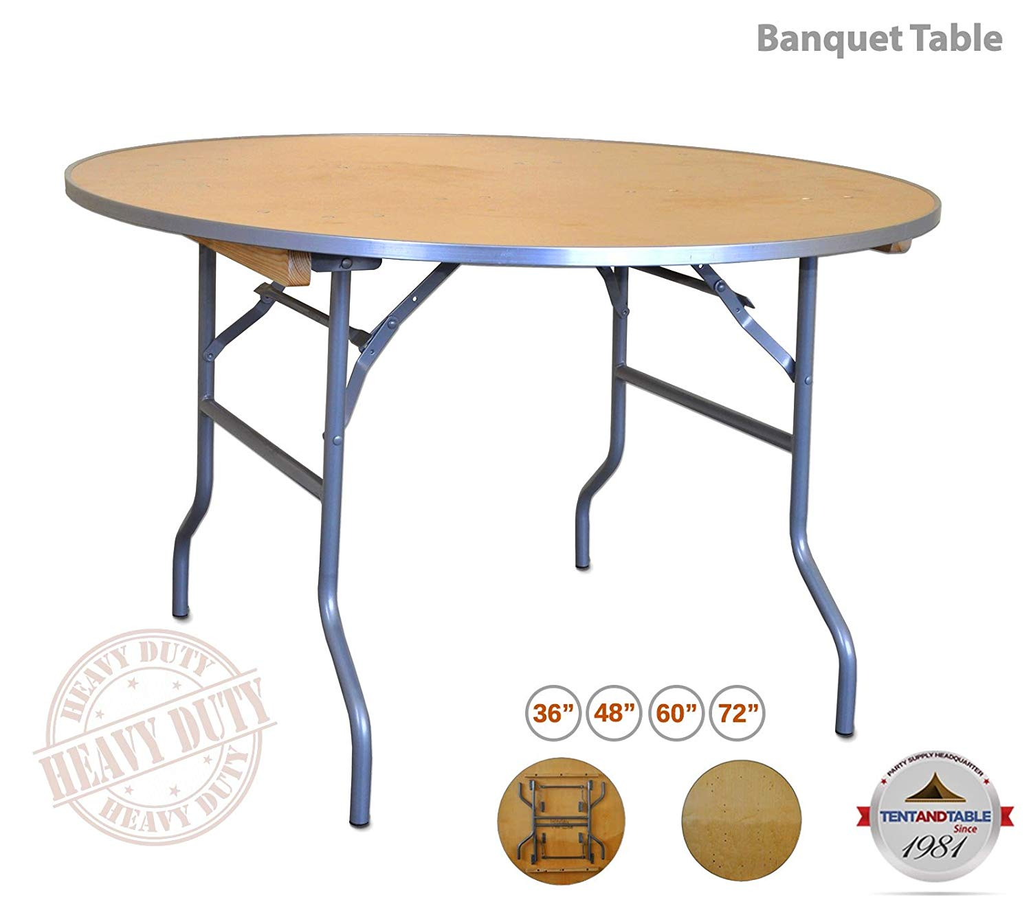TentandTable Heavy-Duty 60-inch Diameter Round Solid Walmart Folding Table