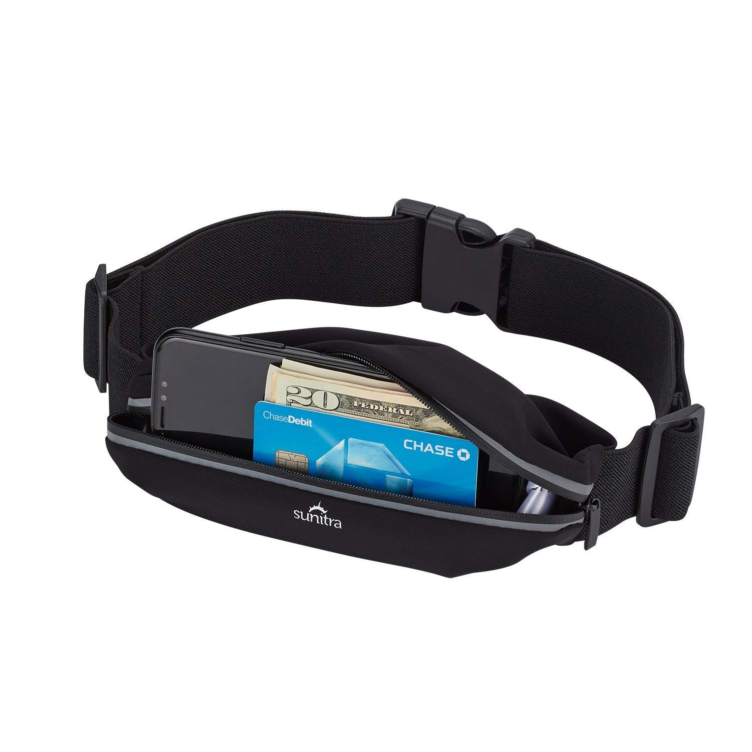 Sunitra Running Belt multi-functional zip pockets