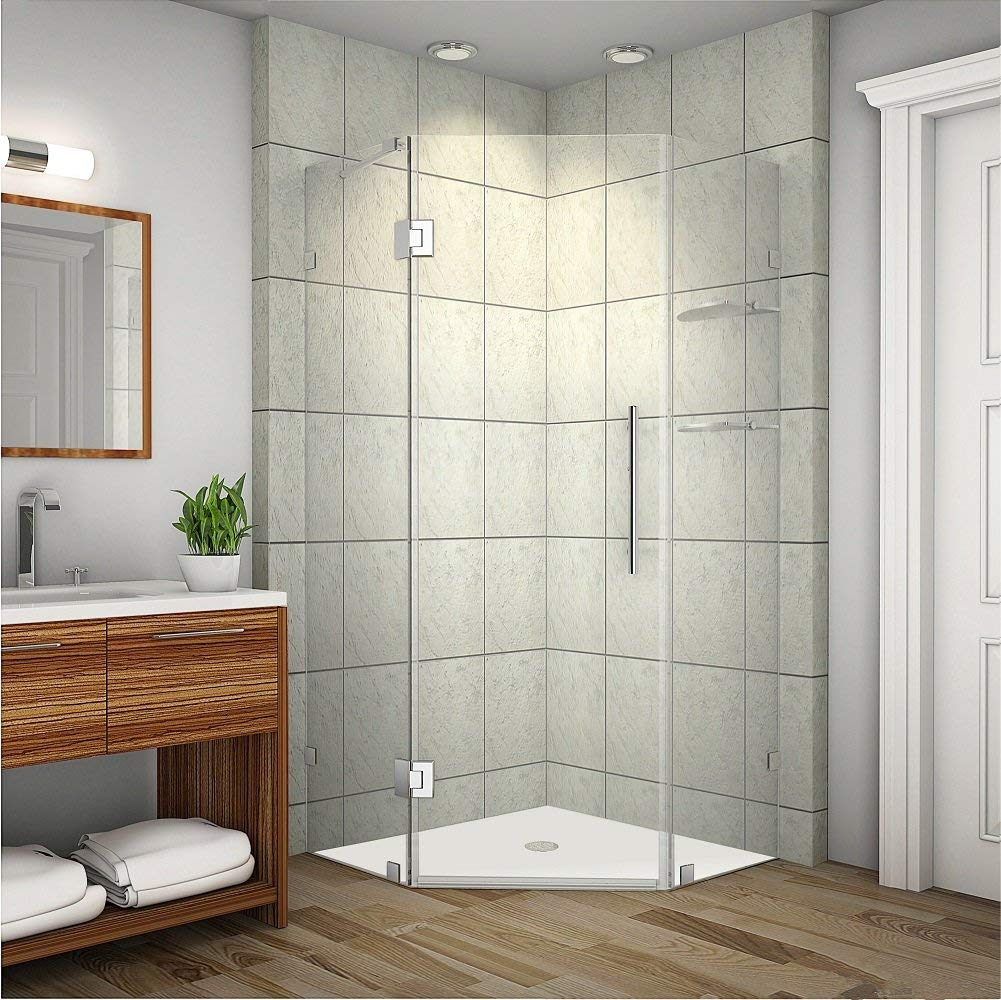 Aston SEN991-SS-34-10 Neoscape GS Completely Frameless Neo-Angle Shower Enclosure