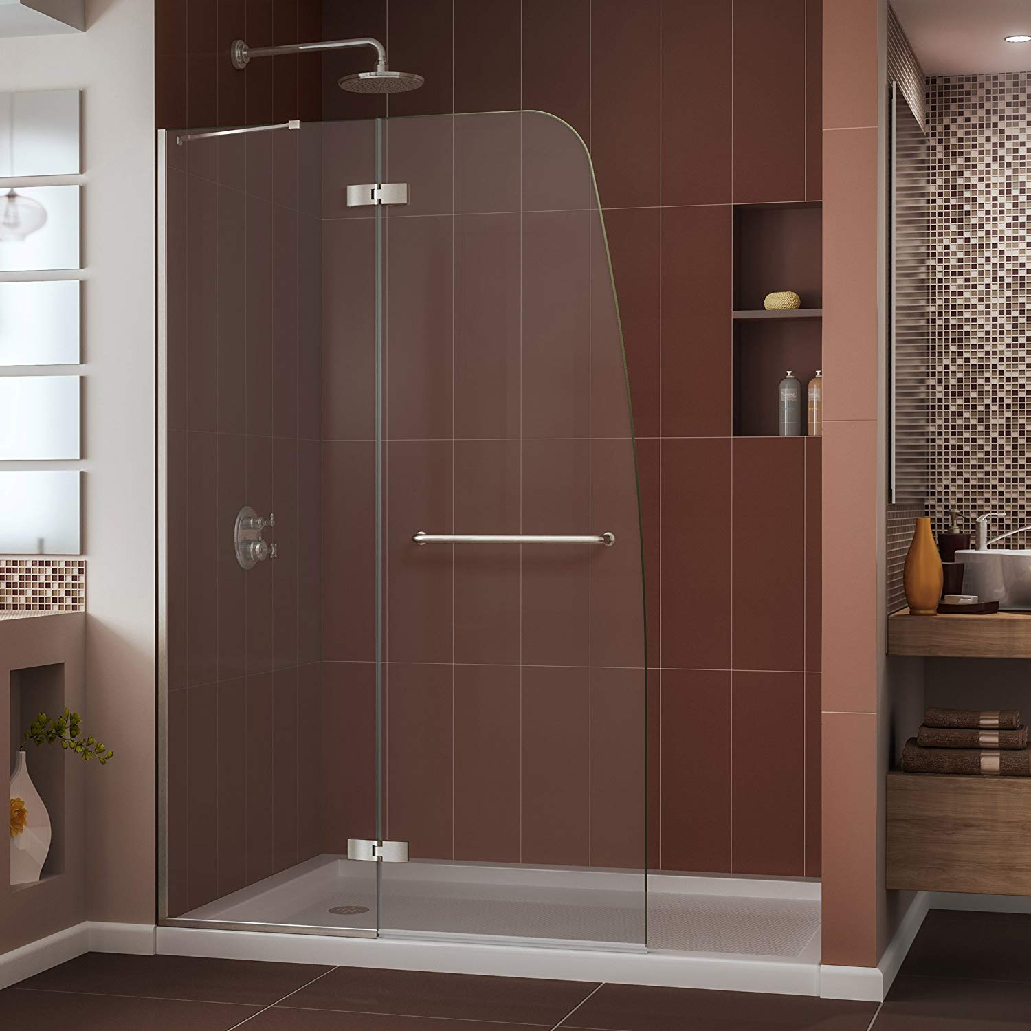 DreamLine Aqua Ultra 45-Inches Frameless Hinged Glass Shower Door