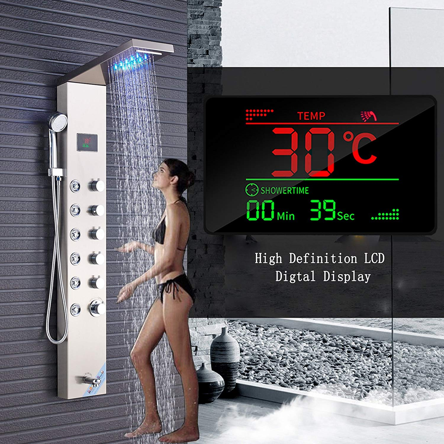 Votamuta LED Rainfall Waterfall Shower