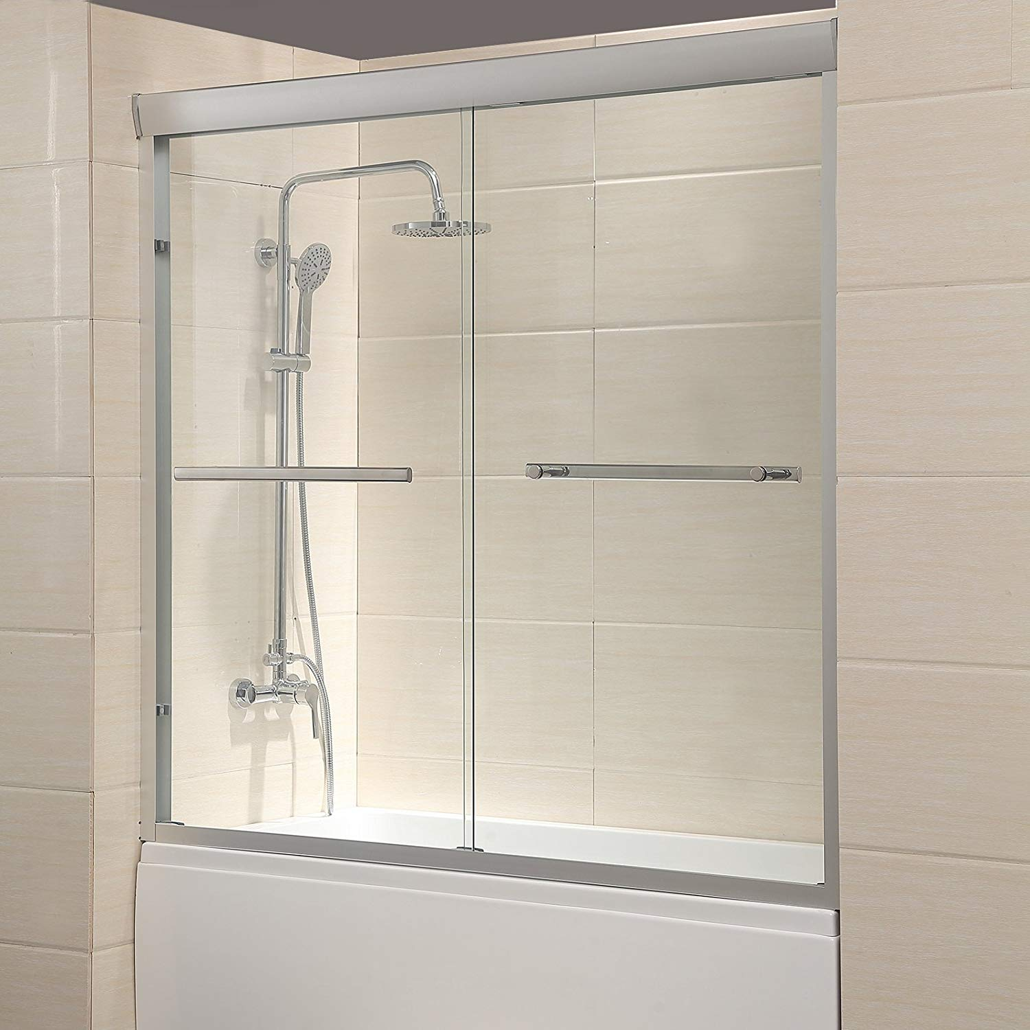 Mecor Framed Bathtub Sliding Glass Shower Door