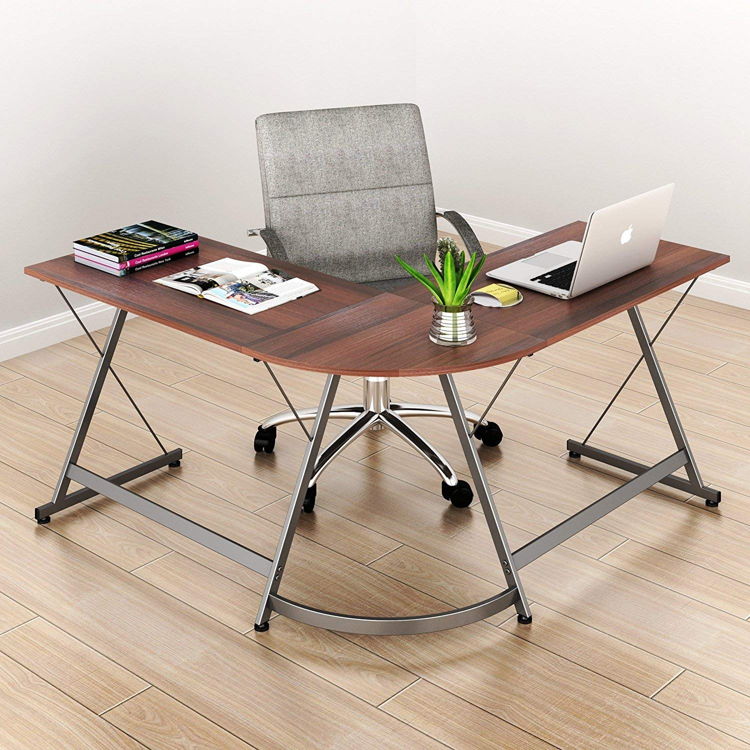 SHW L-Shaped Corner Desk for Home or Office