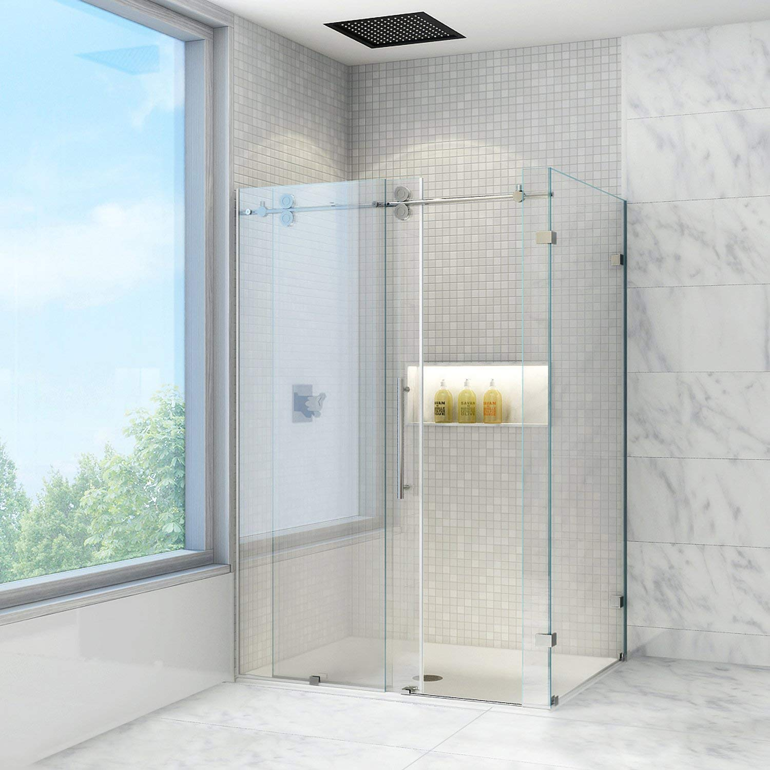 VIGO Winslow 36 x 60-in. Frameless Sliding Shower Enclosure