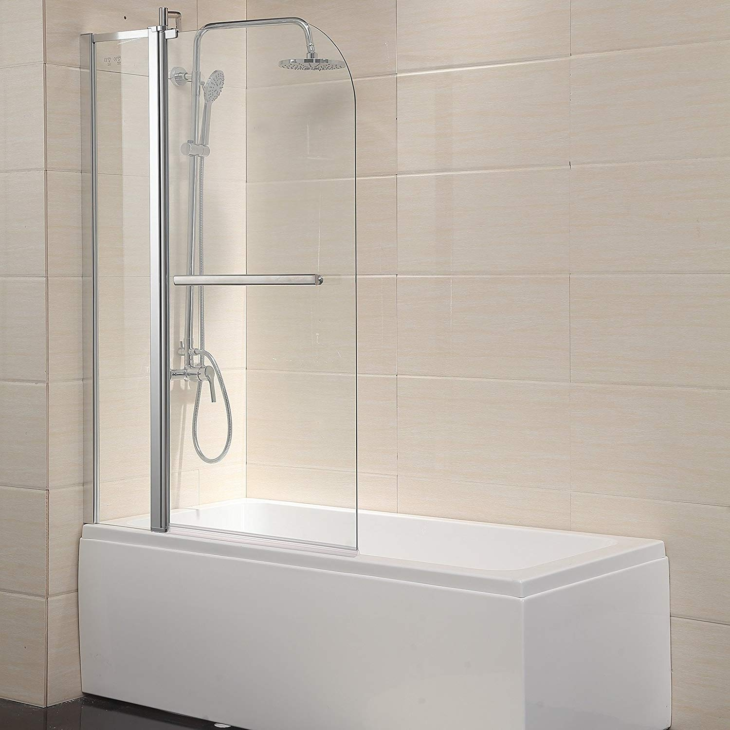 Mecor Shower Door Hinged Frameless 0.25-Inches Clear Glass Door