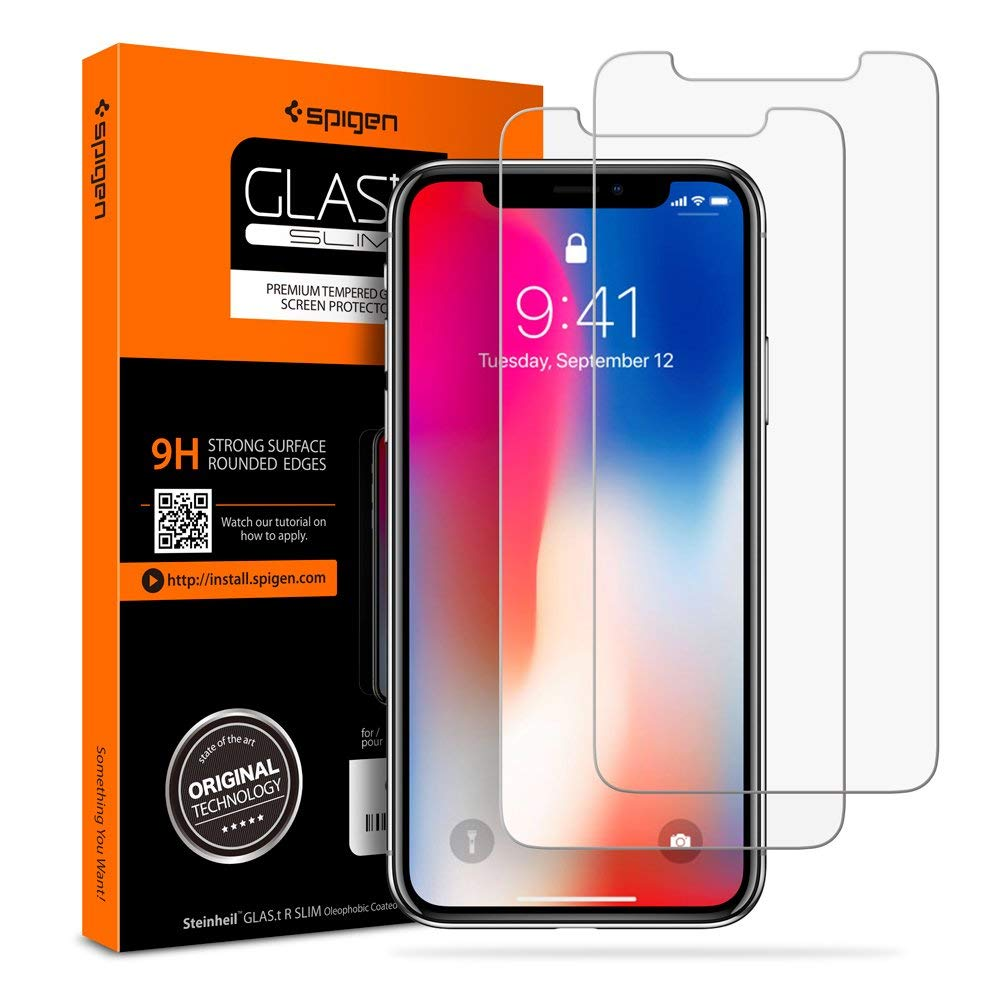 Spigen Tempered 2 Pack Glass Screen Protector for Apple iPhone X/Xs