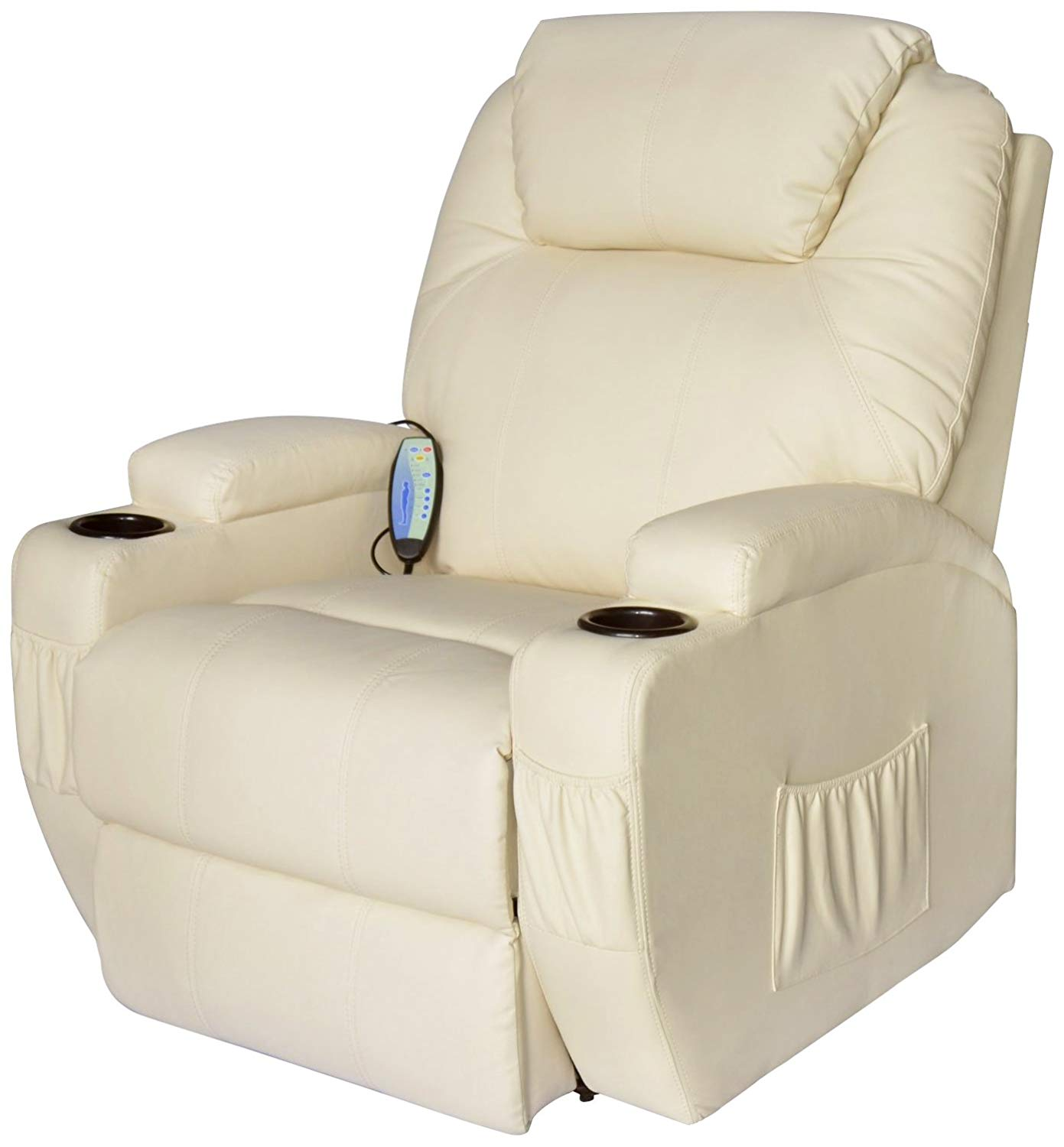 Homcom Luxury Heated Vibrating Faux Leather Recliner sofa with Remote