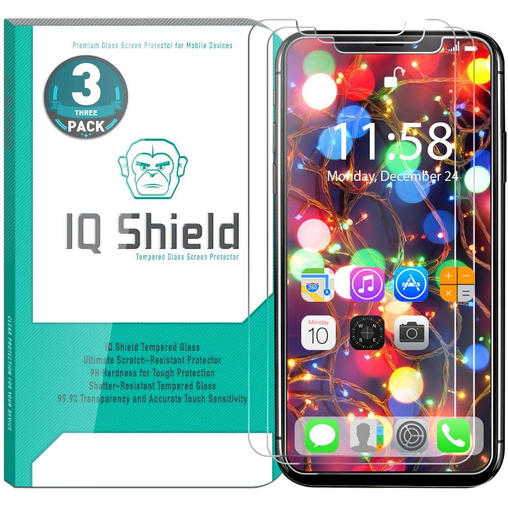 IQShield- iPhone X 3-Pack Screen Protector [Shatter Proof]