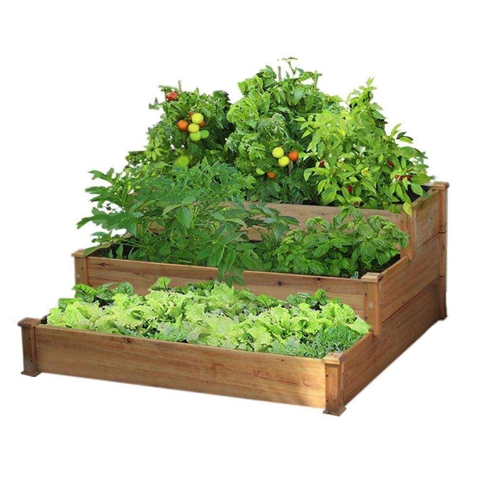 Yaheetech 3-Tier Wooden Elevated Raised Bed Garden