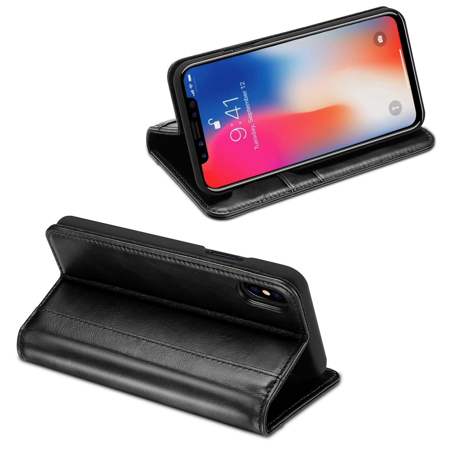 roCase- Genuine Leather Case for iPhone XS/iPhone X–Black