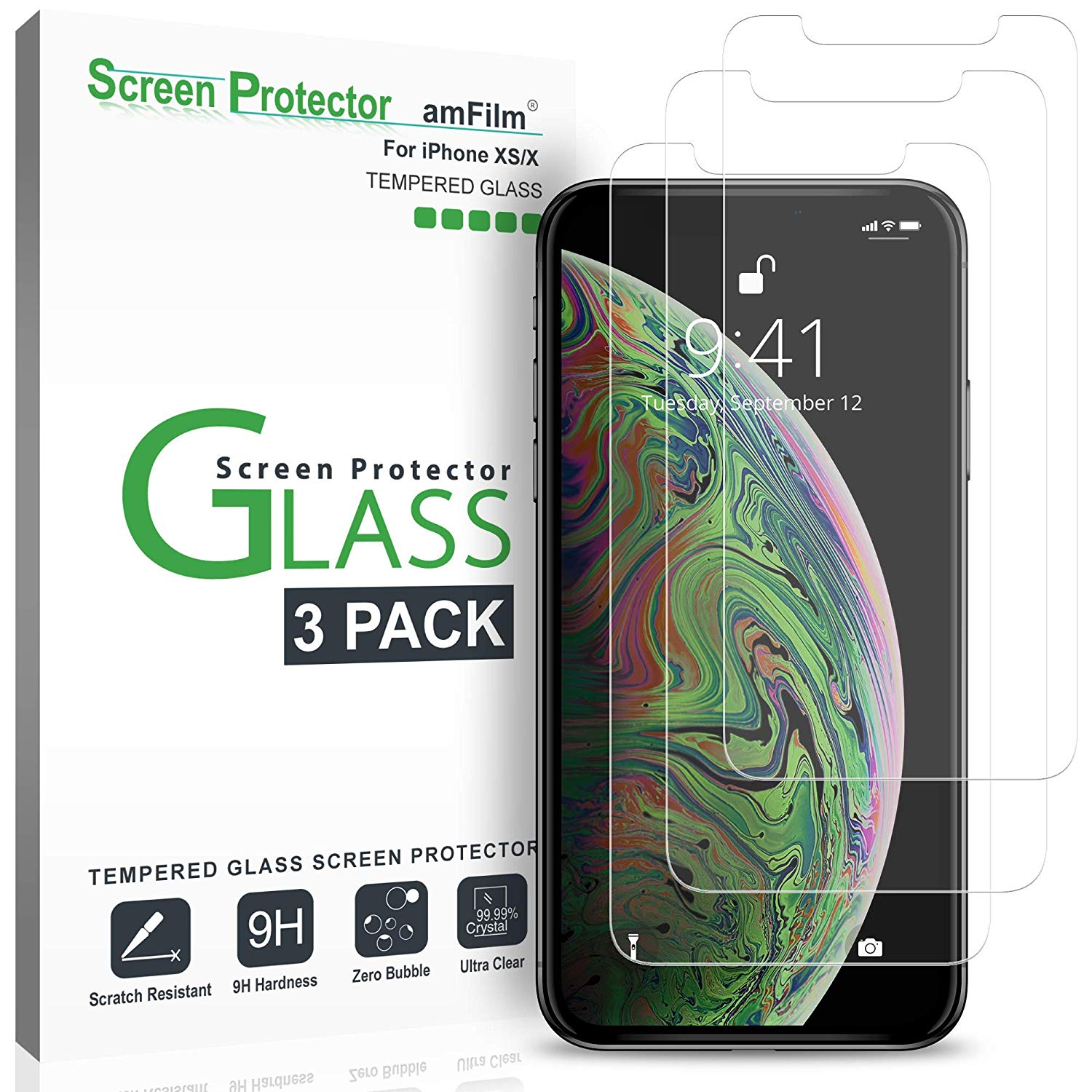 iPhone XS/X 3-Pack Screen Protector Glass
