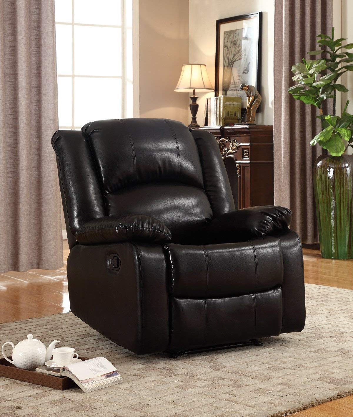 NHI Express Samantha Black Bonded Leather Recliner