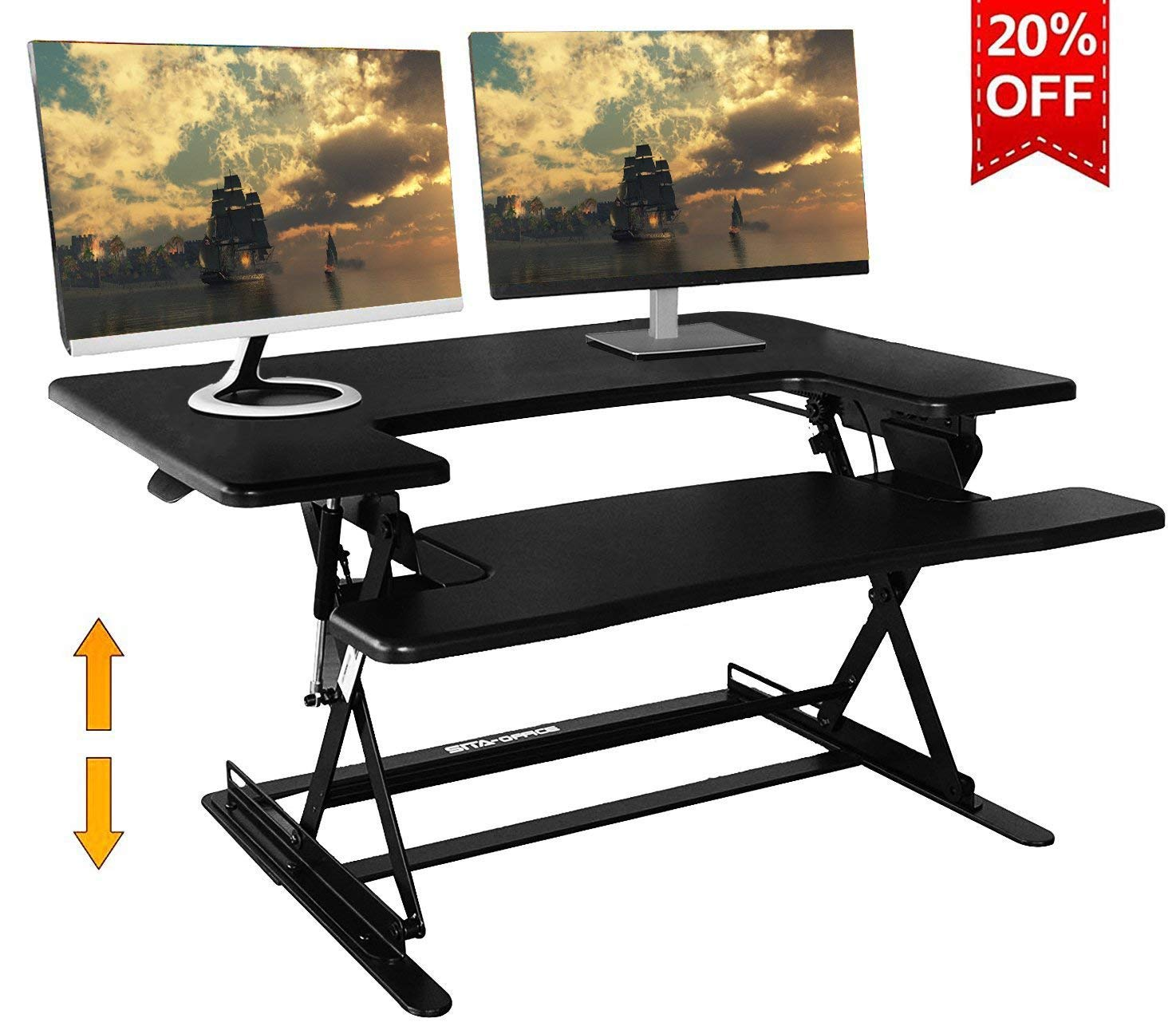 MIHI 36-Inch Standing Desk Adjustable Monitor Riser