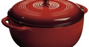 Lodge 6 Classic Red Enamel Cast-Iron Dutch Oven with Self-Basting Lid