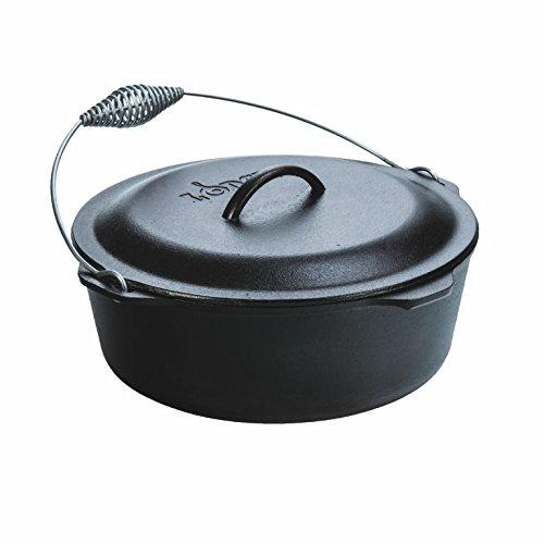 Lodge 9 Quart Camp Cooking Wire Bail Cast-Iron Pre-Seasoned Dutch Oven