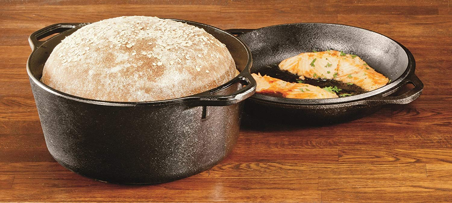 Lodge L8DD3 5-Quart Cast-Iron Double Dutch Oven