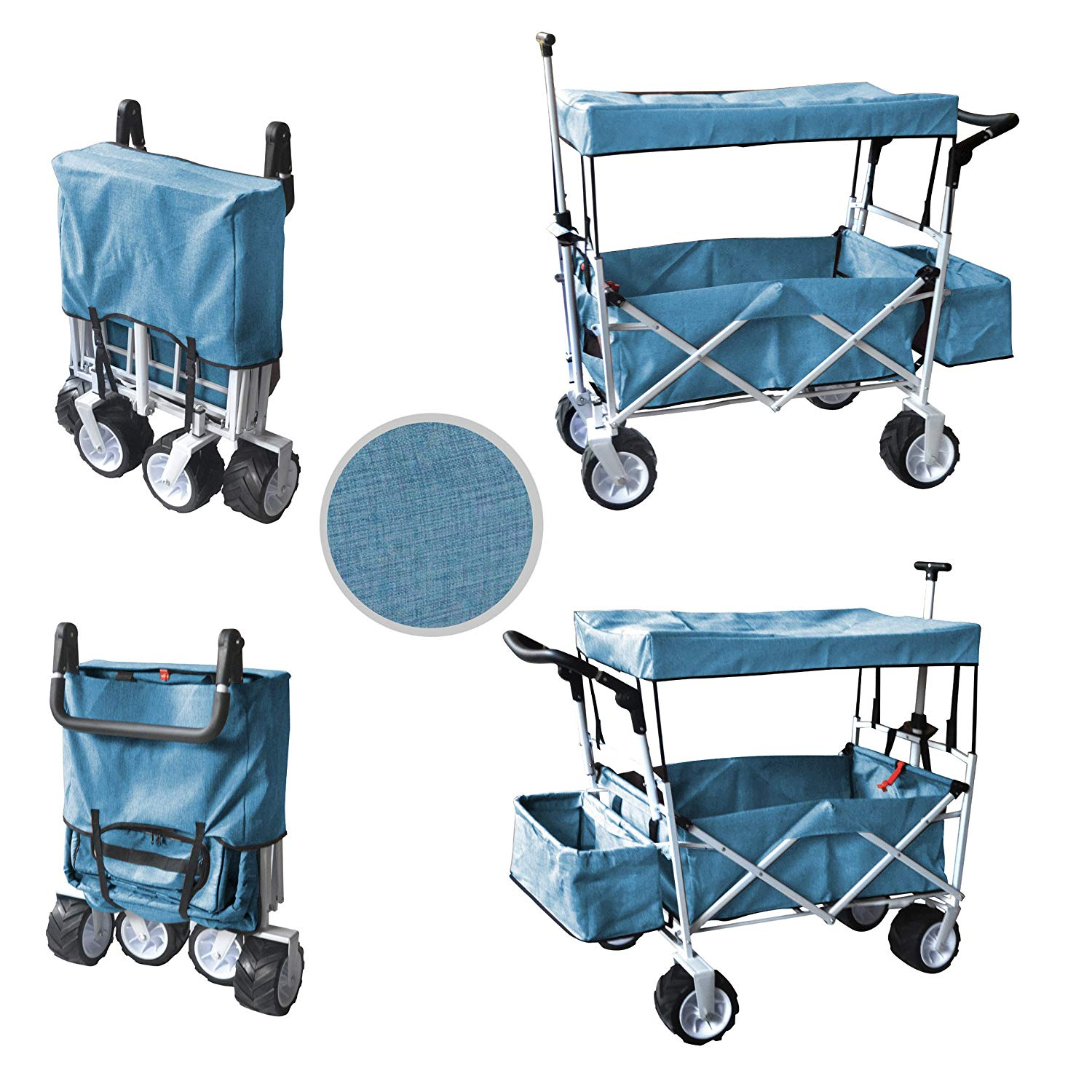 WagonBuddy Push Pull Handle Folding Baby Stroller Wagon