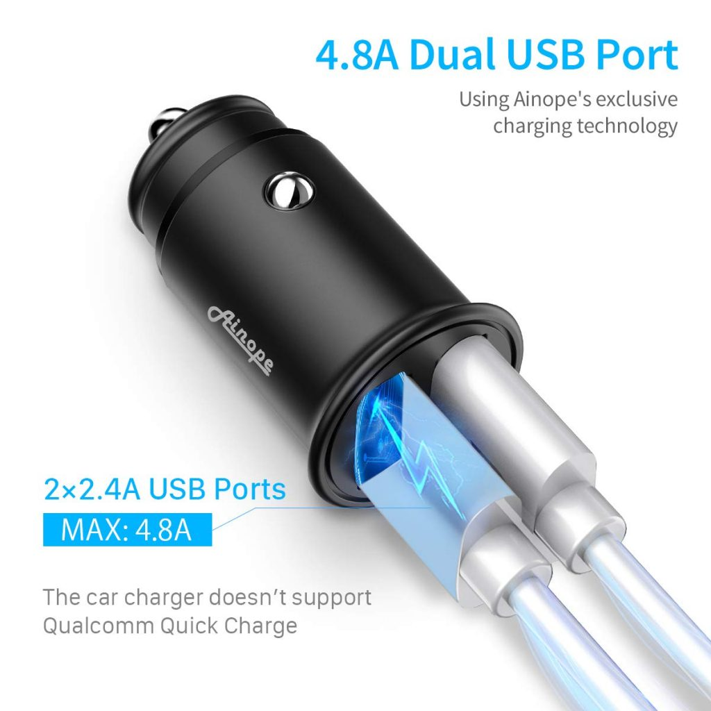 Ainope 4.8A Aluminum Alloy USB Car Charger