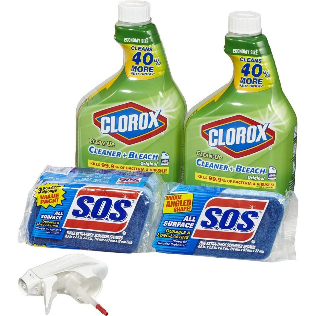 Clorox Clean-Up Bleach Cleaner Spray and S.O.S All Surface Scrubber