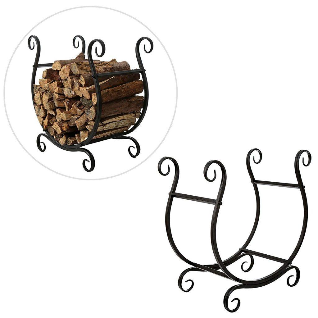 MyGift Scrollwork Firewood Rack