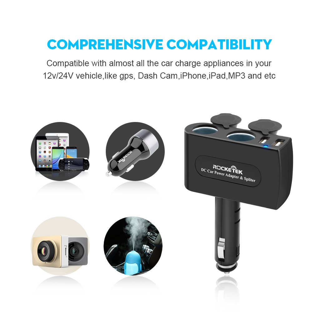 Rocketek 2-Socket Car USB Charger